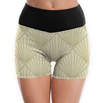 cleaer Fans Gold Womens Yoga Shorts High Waist Sort Tummy ...