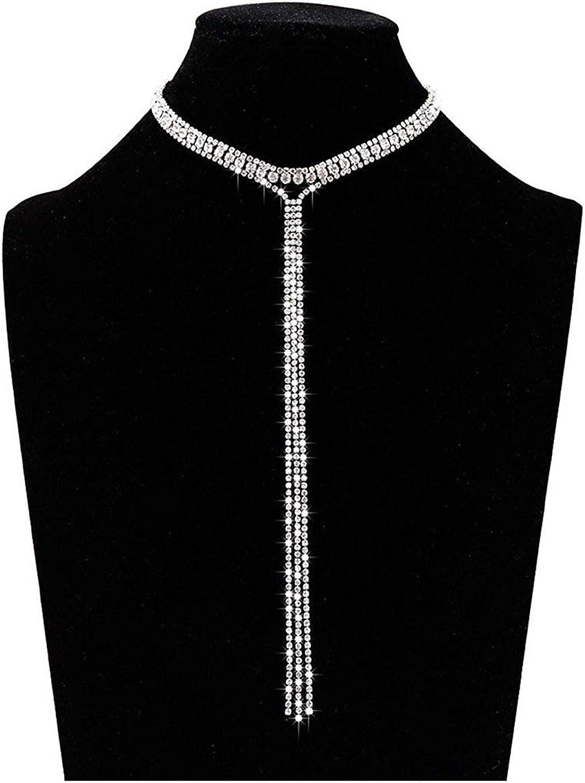 Rhinestone choker collar T Bar statement wide choker party necklace