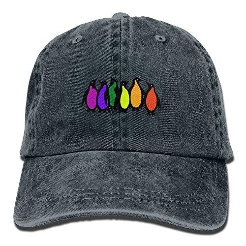 FUNINDIY Gay Pride Rainbow Penguins Adult Sport Adjustable Baseball Cap Cowboy Hat