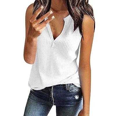 Susen Camisetas De Mujer Tops Blusa Top Sin Mangas con Cuello De Pico para Mujer Camiseta De Tirantes Mujer Basica: Ropa y accesorios