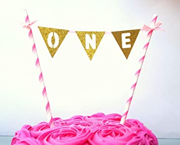 LissieLou Number One Birthday Bunting Cake Topper