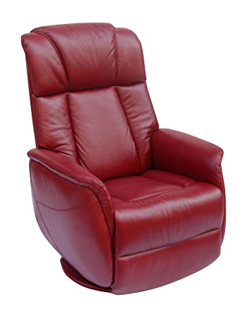 GFA The Sorrento Real Leather Swivel Rocker Recliner, Ruby Red