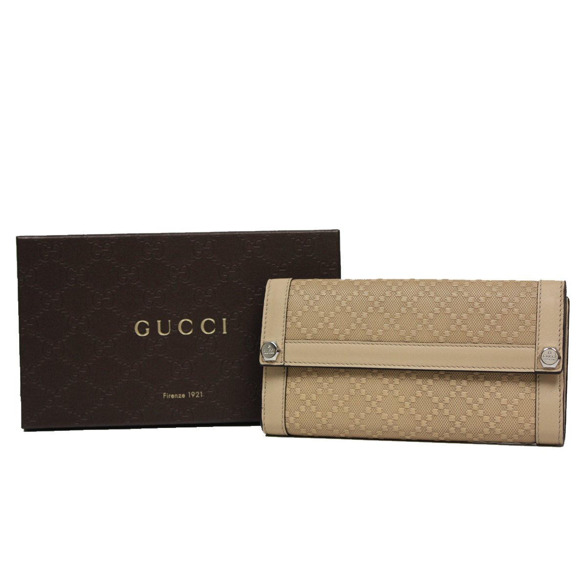 Gucci Diamante Leather Continental Flap Wallet 231839, Beige Tan