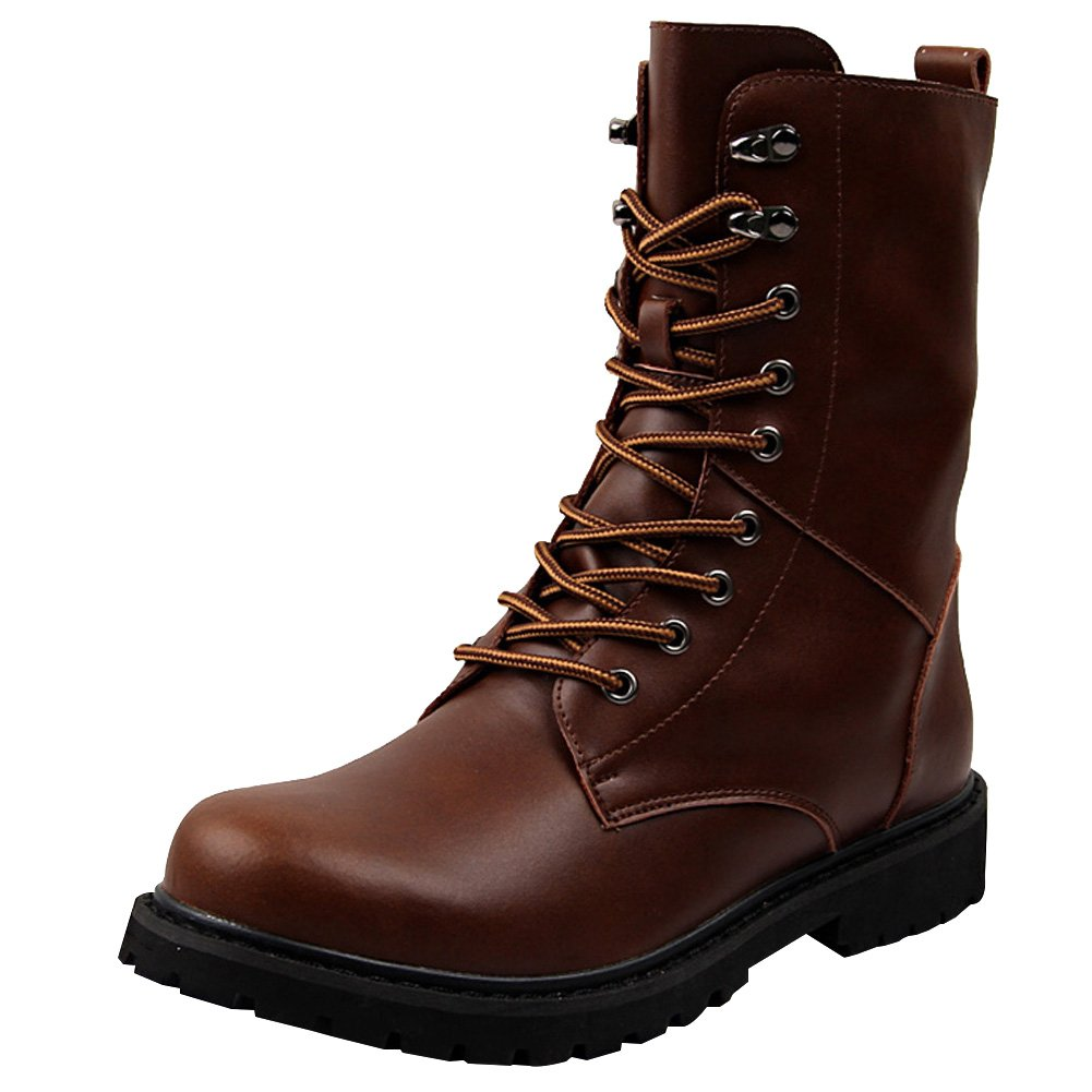 Jamron Men Mid-Calf Split Leather Boots Flat Non-Slip Combat Boots Motorcycle Boots Big Size Brown SN02913 US11