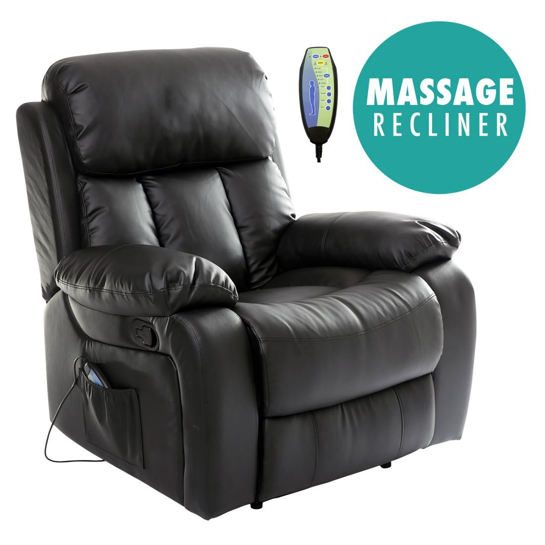 More4Homes (tm) CHESTER HEATED LEATHER MASSAGE RECLINER CHAIR SOFA LOUNGE  GAMING HOME ARMCHAIR (Black): Amazon.co.uk: Kitchen U0026 Home