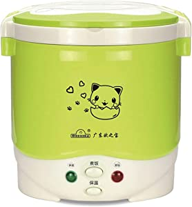 1 Cup Mini Rice Cooker Steamer 12V For Car, Cooking For Soup Porridge and Rice, Cooking Heating and Keeping Warm Function, Can be Used As a Electric Lunch Box (12v green)
