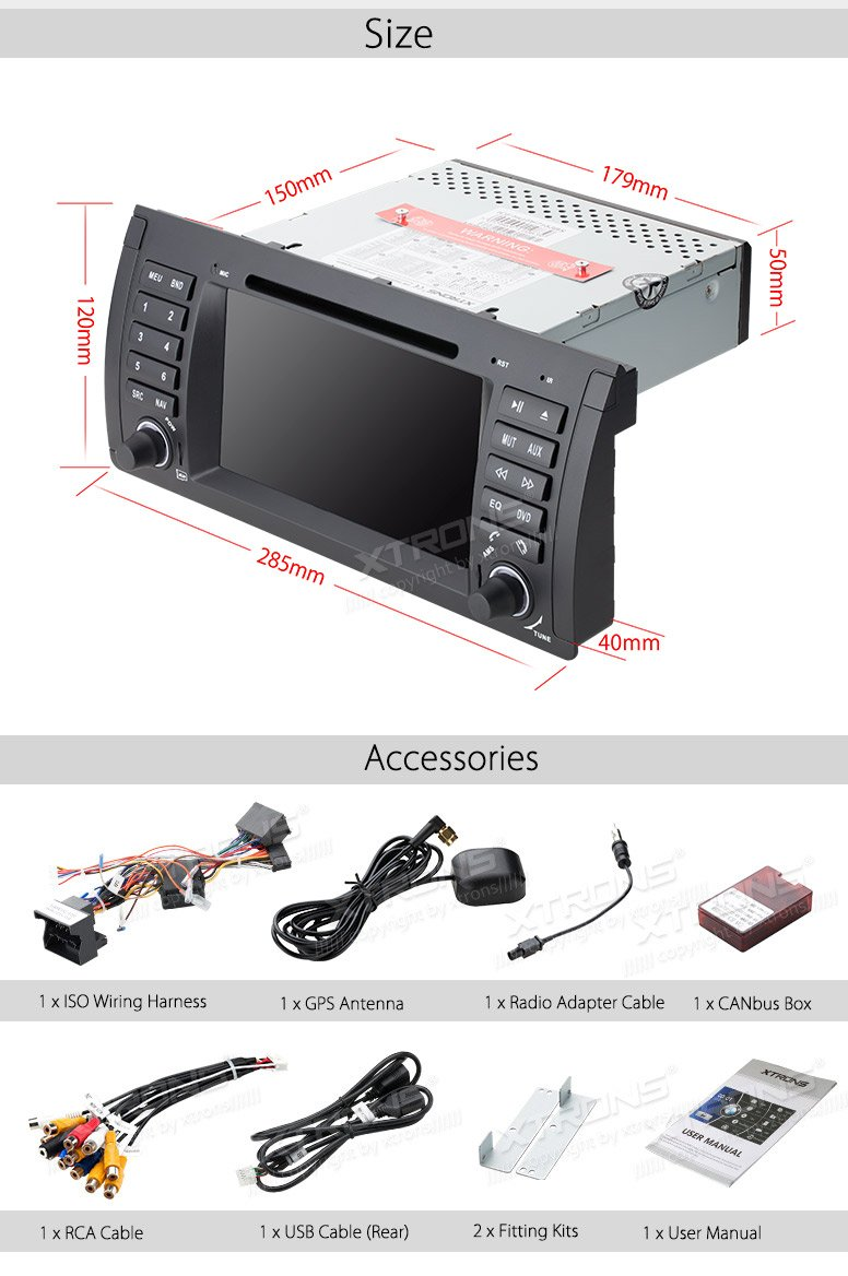 XTRONS 7 Inch HD Digital Touch Screen Car Stereo Radio In-Dash DVD Player with GPS CANbus Screen Mirroring Function for BMW E53 X5 Navigation Map Card & Reversing Camera Included by XTRONS (Image #9)