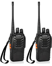 CACAGOO Walkie Talkie Recargable 16 Canales 1500mah CTCSS DCS 5KM, Talkie walkie UHF 400-470MHz con el Auricular Incorporado Antorcha de LED (2 PCS)