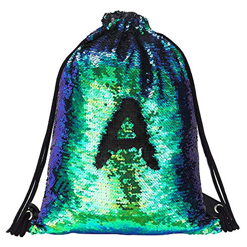 Alritz Mermaid Sequin Drawstring Bags, Reversible Flip Sequins Backpacks Magic Tote Glittering Shoulder Bags for Girls Kids Women (Green/Black)