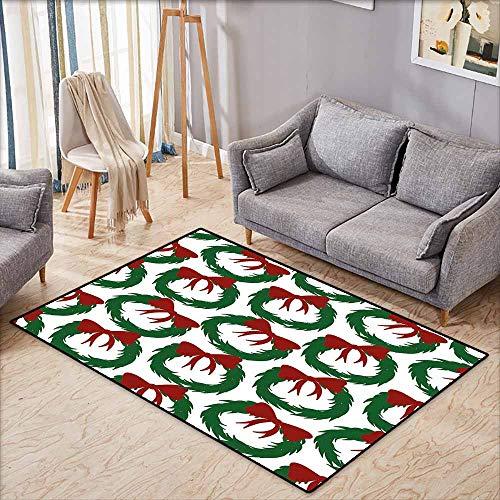Classroom Rug,Geometric,Leaves Ribbon Design Sacred Traditions of Christmas Seasonal Ornate Motif,Anti-Static, Water-Repellent Rugs,4'11