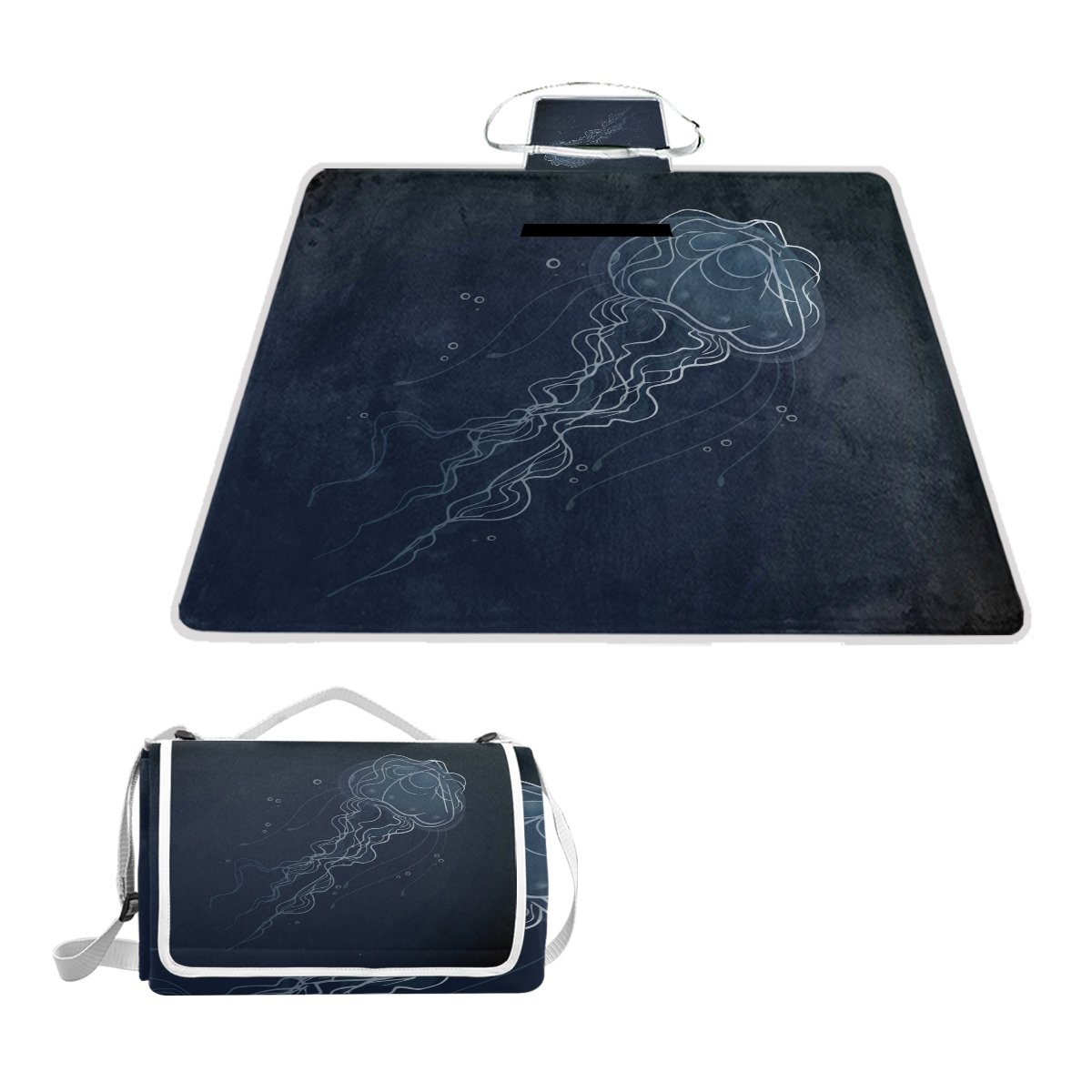 Fengye Funny Jellyfish Outdoor Handy Picnic Blanket Mat Cover Waterproof Grass Carpets Foldable Tote bag Camping Hiking Beach