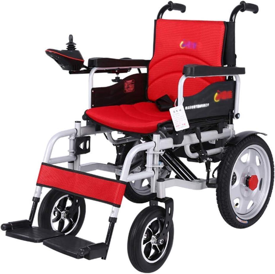 MJY Silla de ruedas eléctrica para trabajo pesado, silla de ruedas eléctrica plegable y liviana, ancho del asiento 45 cm, joystick de 360 ??��, capacidad de peso 150 kg J h/Rojo