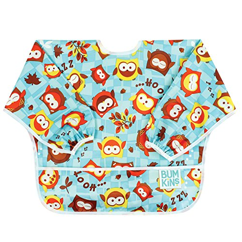 Bumkins Baby Toddler Bib, Waterproof Sleeved Bib, Owls (6-24 Months)