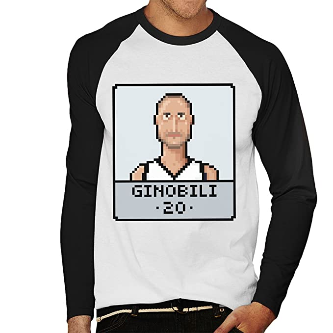 Manu Ginobili Pixel Mens Baseball Long Sleeved T-Shirt