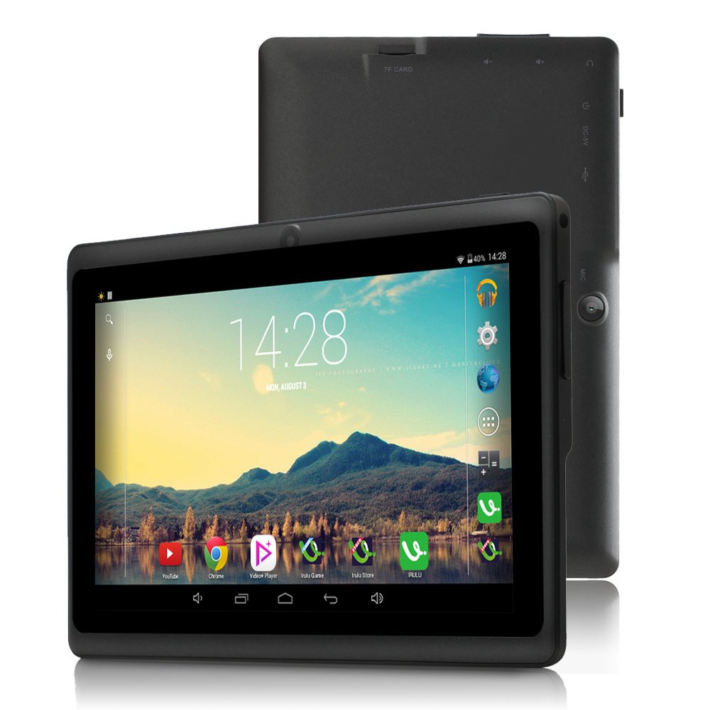 7 inch Tablet Google Android 6.0, Quad Core,1024x600, Dual Camera, Wi-Fi, Bluetooth,1GB/8GB,Play Store Netfilix Skype 3D Game Supported, GMS Certified with One Year Warranty,iRULU X37-Black