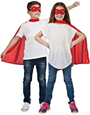 Super Hero Fancy Dress Up Party Costume Child Cape and Mask Outfit (Red)