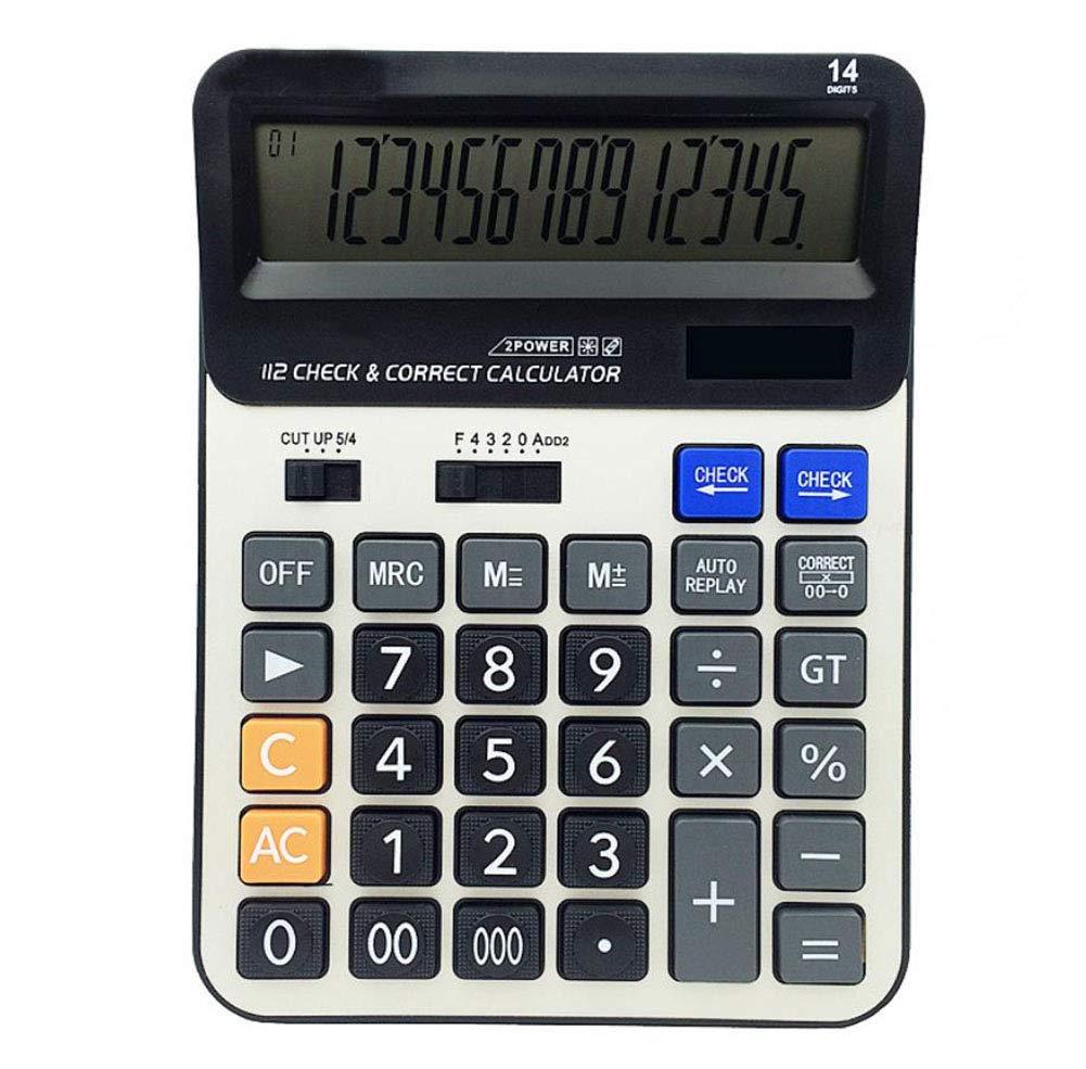 Calculator 14-bit Large Screen Dual Power Computer Financial Accounting Solar Calculator Aluminum Panel Desktop Business Calculator
