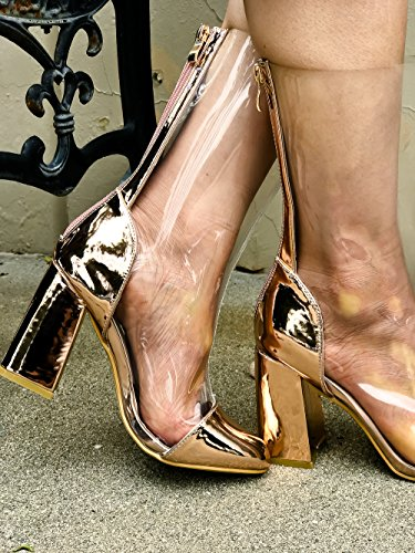 ANNA 1 TOE CUTOUT DND SIDE LOOK ANKLE m53 OPEN Rosegoldchromeclear HEEL AND WEDGES PU STRAP BACK aZxxnqId