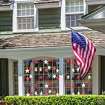 TecUnite 8 Strands Patriotic Star Streamers Banner Garland for 4th of July BBQ, Memorial Day, Veterans Day Party, Independence Day Celebration, Labor Day, Holiday Decorations, Red White Blue: Home & Kitchen