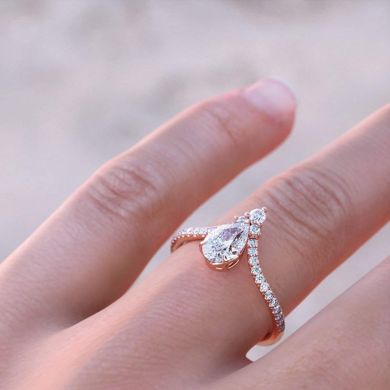 Genuine Pave Diamond Wedding Chevron Ring Solid 14k Rose Gold MINIMALIST Jewelry