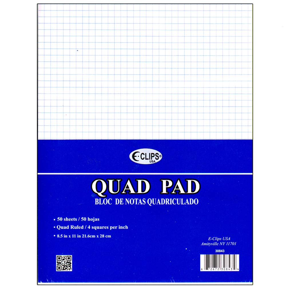 Legal pad, 8.5 x 11'', 50 sheets. Graph ruled (4 squares per inch), Case Pack of 48, Ideal for Bulk Buyers