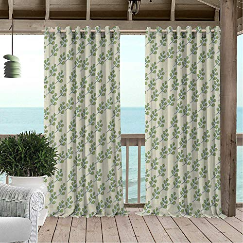 Linhomedecor Patio Waterproof Curtain Botanical Leaves Elm Branches Mother Nature Herbs Woodland Forest Vegetation Theme Apple Green Ivory doorways Grommet Privacy Curtains 108 by 108 inch