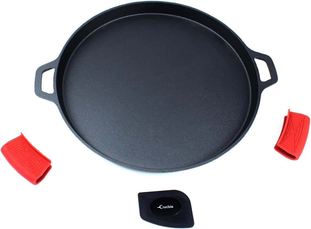 "Cast Iron Pizza Pan 13.58"" (Pre-Seasoned), Baking Pan, Cooking Griddle, for Stove, Grill, BBQ and Oven - Including Silicone Hot Handle Holders and Scraper"