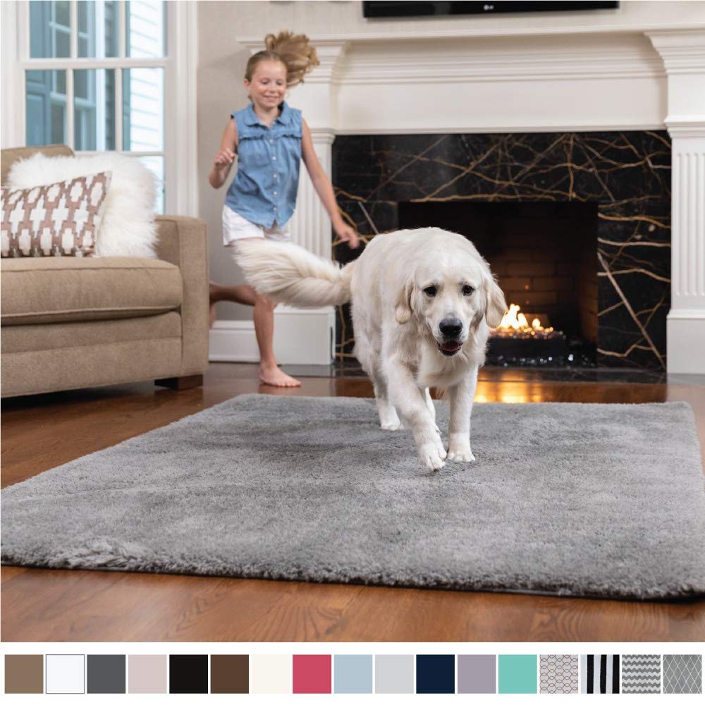 GORILLA GRIP Original Faux-Chinchilla Nursery Area Rug, (5' x 7') Super Soft and Cozy High Pile Machine Washable Carpet, Modern Rugs for Floor, Luxury Shag Carpets for Home Bed/Living Room (Dark Gray)