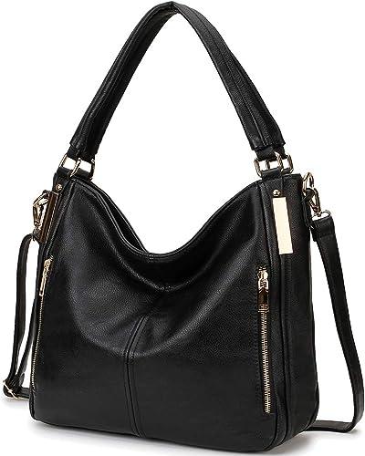 Large Tote Bag for Women, Soft PU Leather Handbag for Ladies with Crossbody Strap, Top Handle Women's Work Shoulder Satchel Bag (Brown)
