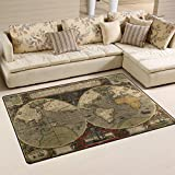 Naanle Vintage Retro World Map Area Rug 3'x5', Earth Map Polyester Area Rug Mat for Living Dining Dorm Room Bedroom Home Decorative