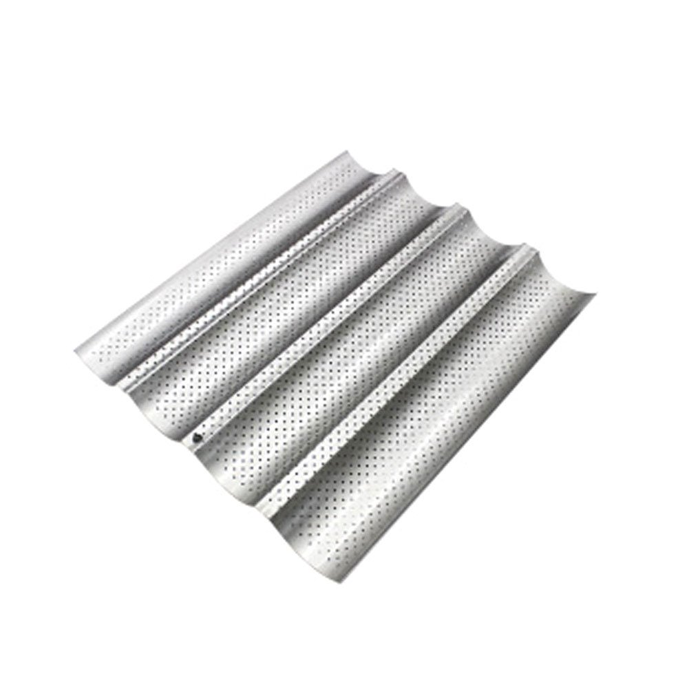 Baguette Baking Tray, 4 Slots Perforated French Bread Pan Tin Breadstick Bread Rolls Alloy Tray Bakeware Mold Bread Holder Non-stick (silver)