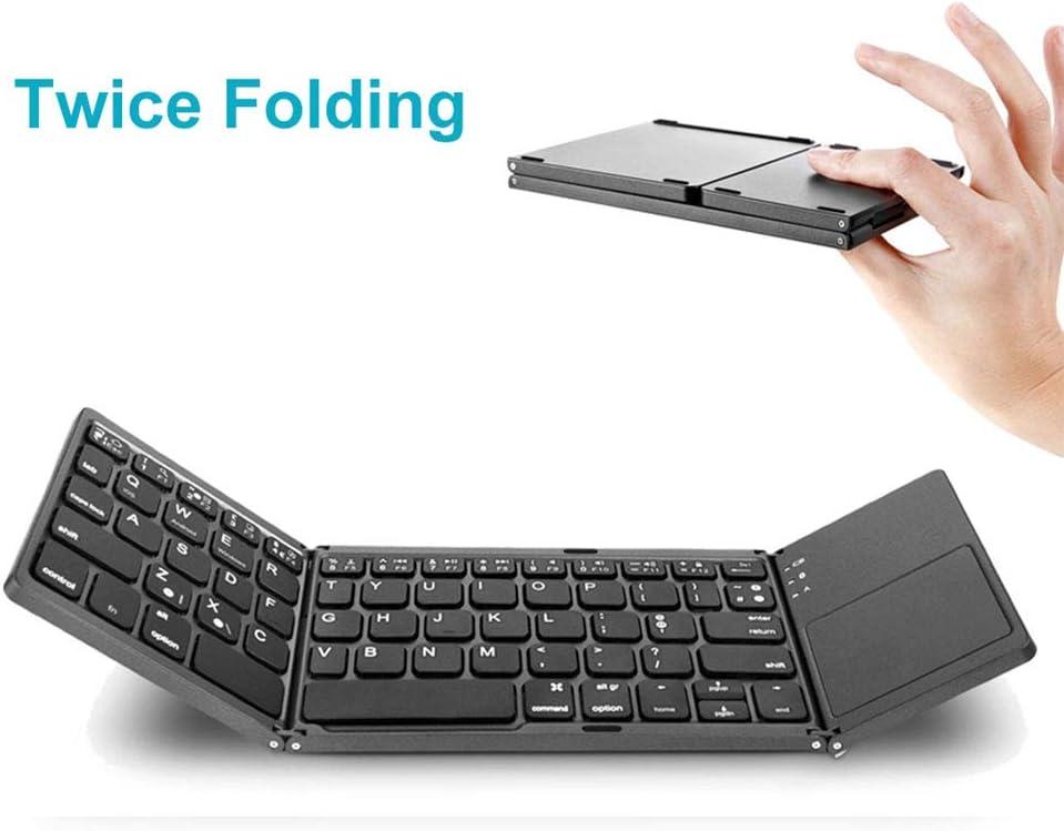 Redcolourful Portable Mini Three Folding Bluetooth Keyboard Wireless Foldable Touchpad Keypad for iOS//Android//Windows Black