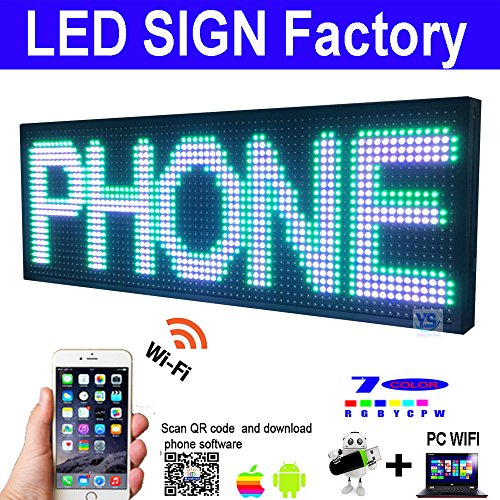 Scrolling LED Sign size 39'' x 14'' RGB 7 COLOR Programmable led advertising board with for indoor and Outdoor use led display by szyishang (Image #5)