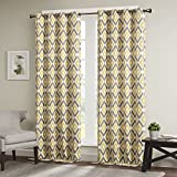 Yellow Curtains For Living Room, Modern Contemporary Curtains For Bedroom, Ashlin Geometric Fabric Grommet Window Curtains, 50X108″, 1-Panel Pack