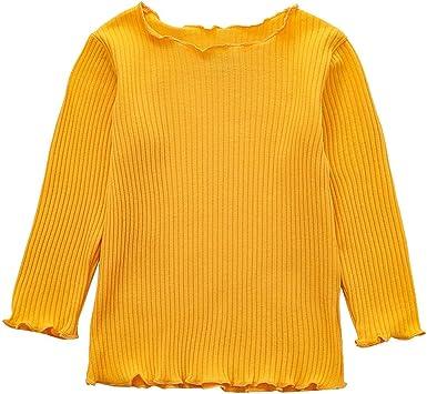 MAYOGO Camiseta Bebe Niña Manga Larga Punto Otoño de 3 a 6 Meses Bebe Niña Top Ola Borde Color sólido Ropa para Bebe Dormir Moda Bebe Disfraz Invierno 0-3 Años: Amazon.es: Ropa