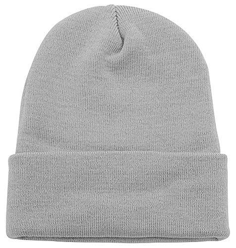 - Top Level Unisex Cuffed Plain Skull Beanie Toboggan Knit Hat/Cap, Light Grey