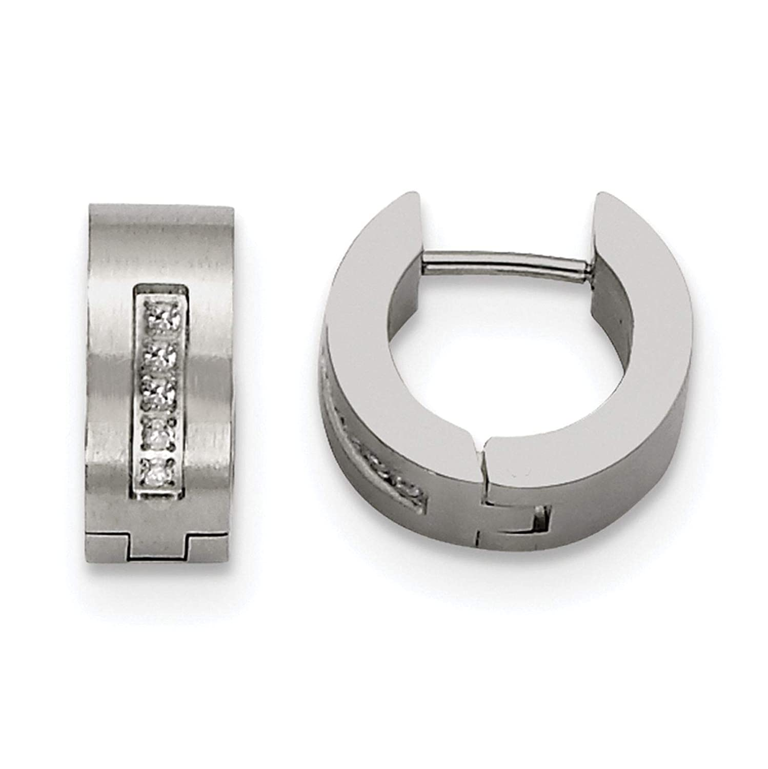 Stainless Steel Polished /& Brushed Finish w//CZ Huggie Hoop Earrings 5mm x 9mm