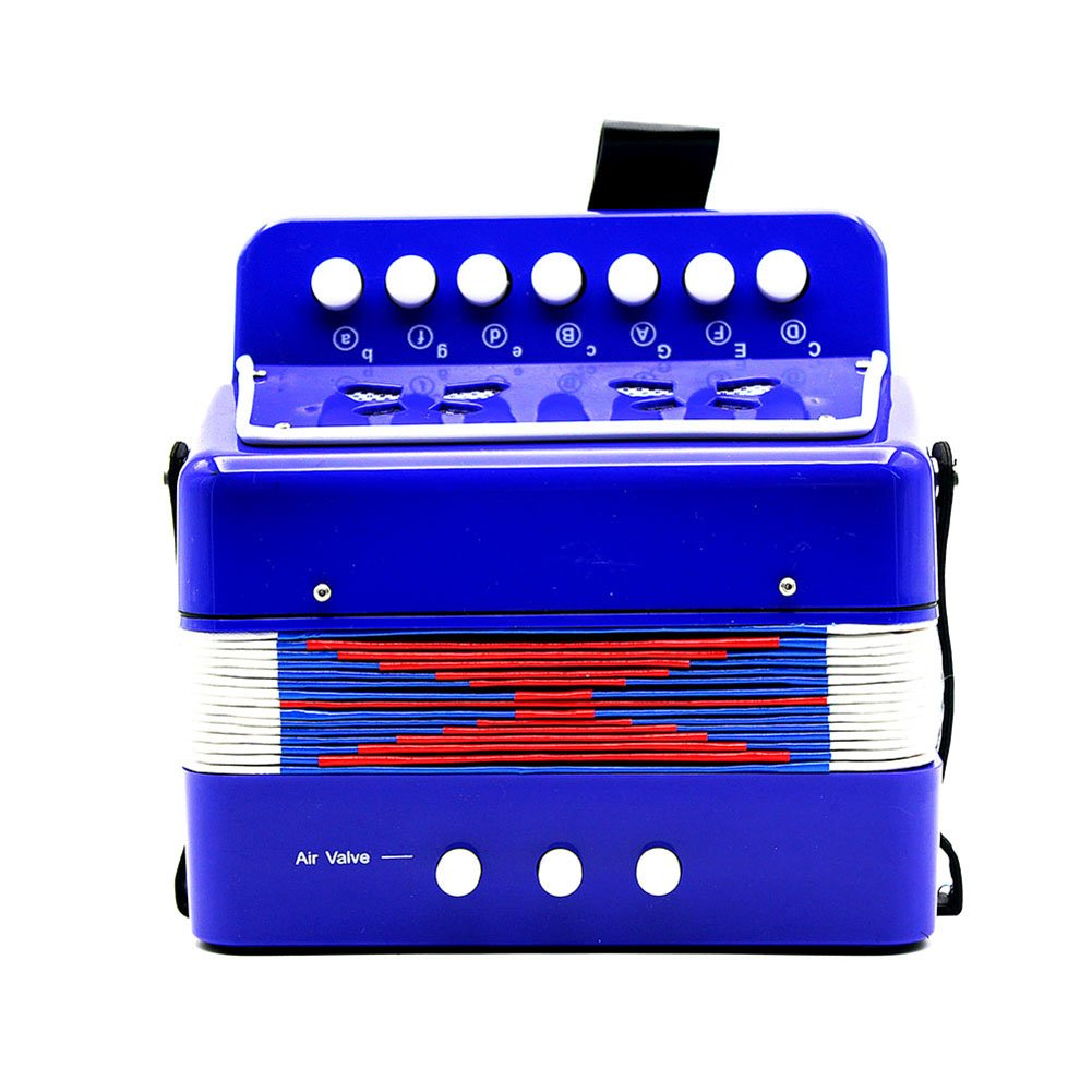 Kids Children Accordion Musical Toy for Early Childhood Teaching, 7-Key 2 Bass Mini Small Accordion Educational Musical Instrument Rhythm Toy for Amateur Beginner, Blue