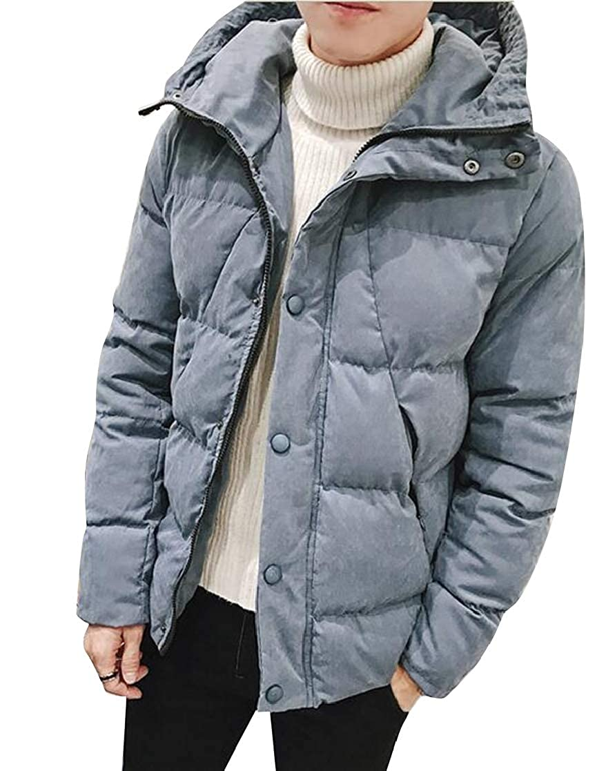 SHOWNO Mens Hoodie Solid Color Plus Size Thicken Thermal Down Coat Jacket Outerwear
