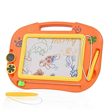 TTMOW Pizarras Mágicas Colorido con Pluma, Almohadilla Borrable de Escritura y Dibujo, Juguetes Educativos para 3 niños 4 años 5 años 6 años (Naranja): ...