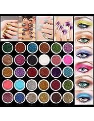 Eyeshadow&Nail Glitter LuckyFine 30Pcs/Set Colors Mixed Glitter Loose Powder Eyeshadow Eye Shadow Cosmetics Salon Random Color App 2.51.5cm(DH) for Gift