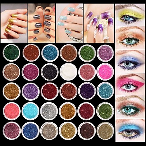 Eyeshadow&Nail Glitter LuckyFine 30Pcs/Set Colors Mixed Glitter Loose Powder Eyeshadow Eye Shadow Cosmetics Salon Random Color App 2.51.5cm(DH) for Gift by LuckyFine