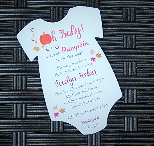 Set of 10 Pumpkin Halloween Fall Themed Boy or Girl Baby Shower Invitations - All Wording Customized