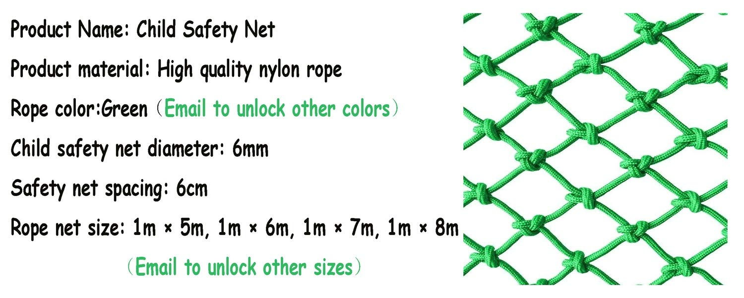 WBHGNDHH 3×20ft Child Safety Net Fall Protection Safety Net Balcony and Stairway Banister Stair Rail Net Kindergarten Color Decorative Net Nylon Net ( Size : 3×23ft ) by WBHGNDHH