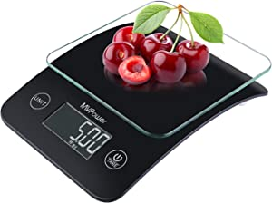MVPower Food Scale Multifunction, Digital Kitchen Scale, Precision Measuring With Tempered Glass Platform, LCD Display, 11 lb 5 kg (Batteries Included)