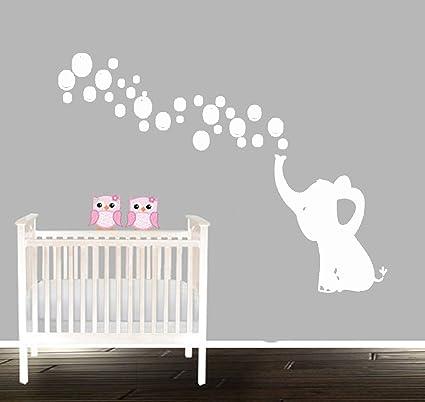 SaYaLa Elephant Bubbles Wall Stickers,Nursery Elephant Decal Sticker,Boys Nurser