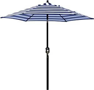 Blissun 7.5 ft Patio Umbrella, Yard Umbrella Push Button Tilt Crank (Blue&White)