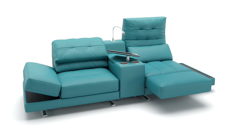 Leder Couch Sofa 3 Sitzer Kinosofa mit Mittelkonsole Venosa: Amazon ...