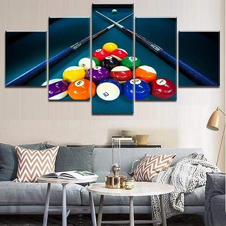 MSDEWLH 5 Lienzo Arte De La Pared Marco Imprimir Billar Colorear La Bola Y Seña Imágenes Decoración Entertainment Club Poster-12x16in 12x24in 12x32in: Amazon.es: Hogar