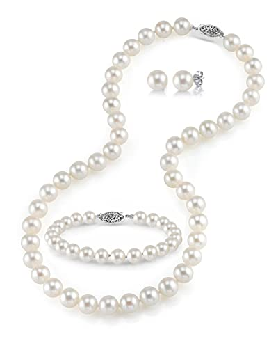 e2ad3948e THE PEARL SOURCE 14K Gold 6.5-7mm Round White Freshwater Cultured Pearl  Necklace, Bracelet